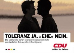 Mit diesem Plakat zog Angela Merkel im Jahr 2000 gegen eingetragene Partnerschaften zu Felde