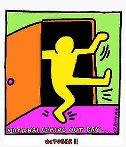 K�nstler Keith Haring kreierte dieses Bild f�r den Coming Out Day