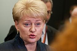 Pr�sidentin Dalia Grybauskaite verband die Ablehnung der Teilnahme an der Olympiade mit Kritik am gro�en Nachbarn - Quelle: Baltic Development Forum / flickr / cc by 2.0