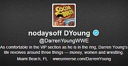 """Komisch: Auf seinem Twitter-Konto verk�ndet Darren Young weiterhin, dass sich in seinem Leben alles um """"Geld, Frauen und Wrestling"""" dreht"""