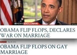 """So hat der erzkonservative Fox News Channel Barack Obamas Schwenk bei der Ehe-�ffnung dargestellt: """"Wendehals Obama erkl�rt der Ehe den Krieg"""""""