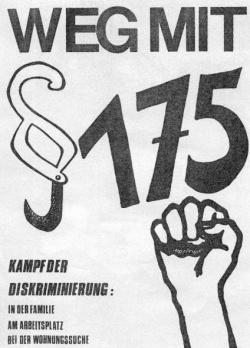 Dieses Protestposter stammt aus dem Jahr 1973 - Quelle: Ausstellungskatalog 100 Jahre Schwulenbewegung des Schwulen Museums Berlin