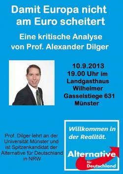 Am 10. September spricht Alexander Dilger in Münster über den Euro