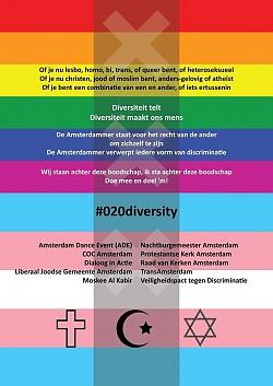 """Der """"Gegen-Flyer"""" mit Symbolen der Glaubensgemeinschaften und den Flaggen der LGBT- und Trans-Community will aus dem Negativen etwas Positives erwachsen lassen: """"Amsterdamer stehen für die Rechte anderer ein, sie selbst zu sein"""""""