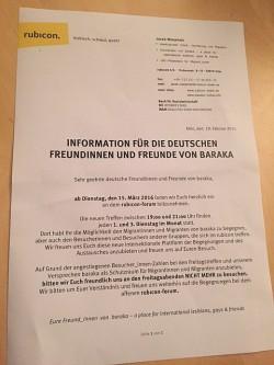 """Mit diesem Brief informierte """"baraka"""" seine """"deutschen Freundinnen und Freunde"""""""