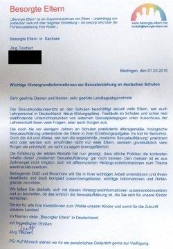 """Das Schreiben der """"Besorgten Eltern"""" an die Abgeordneten in Sachsen"""