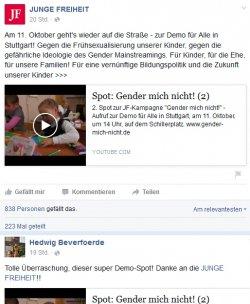 """Die """"Initiative Familienschutz"""" freut sich über die Unterstützung vom rechten Rand der Gesellschaft - Quelle: Screenshot"""
