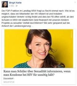 """Birgit Kelle hat bereits den Bericht ihres Ehemanns zum FDP-Antrag auf Facebook verlinkt und die Kombinationstherapie von Christian N. verschwiegen. Der erste Kommentar unter dem Eintrag lautet: """"Der Typ ist ein Verbrecher und gehört hinter Gitter."""""""