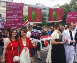 Deutsche und franz�sische Paare protestierten bei der Parade f�r ihre Rechte