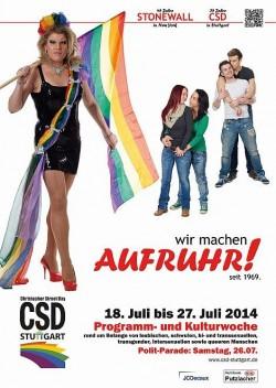 """Plakat zum CSD Stuttgart 2014: Unter """"Aufruhr"""" hatten wir uns eigentlich etwas anderes vorgestellt"""