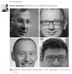 Screenshot aus der Facebook-Gruppe: F�r Beck, Kahrs, Kauch und Kaufmann schl�gt Bruno Gm�nder die Spendentrommel