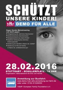 """Mit diesem Flyer wirbt die """"European Family Foundation"""" f�r Busfahrten aus zahlreichen St�dten zur """"Demo f�r alle"""""""