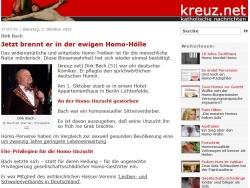 """Ein kreuz.net-Artikel über Dirk Bach (""""Jetzt brennt er in der ewigen Homo-Hölle"""") brachte das Fass zum Überlaufen"""