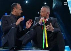 Beim im TV übetragenen Sanremo-Musikfestival setzten viele Musiker ein Zeichen für die Homo-Ehe, darunter Eros Ramazotti (r.)