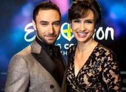 Die Showmoderatoren M�ns Zelmerl�w und Petra Mede werden in diesem Jahr erstmals selbst die Punkte des Televotings bekannt geben - Quelle: svt