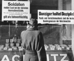 Warnung an Soldaten vor dem Vorwurf der Fahnenflucht drei Monate vor Ende des Krieges im Februar 1945 in Danzig