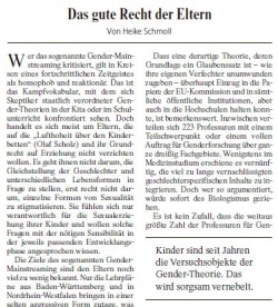 Heike Schmoll bekam f�r ihren Kommentar einen Leitartikelplatz auf der FAZ-Titelseite freiger�umt