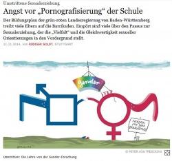 """Eine Karikatur zum FAZ-Artikel """"Angst vor 'Pornografisierung' der Schule"""", der ebenfalls heute erschien, zeigt die vermeintlichen Folgen der Bildungspläne"""
