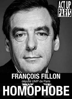 """Die Gruppe """"Act Up Paris"""" klagte im Streit um die Ehe für alle Fillon öffentlich als homophob an"""