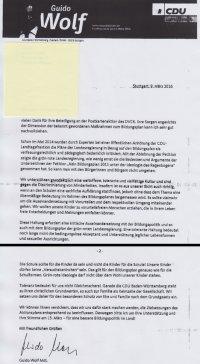 """Das vor der Wahl verfasste Schreiben wurde jetzt von der """"Deutschen Vereinigung f�r eine christliche Kultur"""" ver�ffentlicht"""