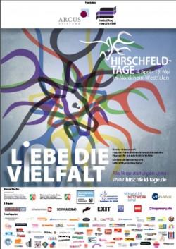 Plakat zu den Hirschfeld-Tagen NRW: Vom 4. April bis zum 18. Mai 2014 finden knapp 100 Veranstaltungen in 16 Orten des Bundeslandes statt