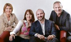 Die vier Köpfe der Hirschfeld-Tage NRW (v.l.n.r.): Bettina Böttinger, Gabriele Bischoff (Arcus-Stiftung), Jörg Litwinschuh (Bundesstiftung Magnus Hirschfeld) und Co-Botschafter Klaus Nierhoff