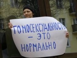 "Irina Fedotova bei ihrem Protest in Rjasan: ""Homosexualit�t ist normal"""