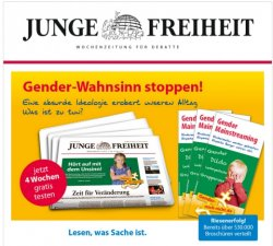 """Die """"Junge Freiheit"""" nutzt den Kampf gegen alles, was f�r rechte Kreise zum Thema """"Gender"""" geh�rt, zur Akquise neuer Leser"""