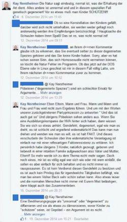 """Der Facebook-Thread Nerstheimers zu Schwulen und Lesben. Laut einem Bericht der """"SZ"""" schrieb Nerstheimer in anderen Facebook-Kommentaren u.a. von Schwarzen als """"Bimbos"""" und von einigen deutschen Politikern als """"Hochverr�tern"""""""