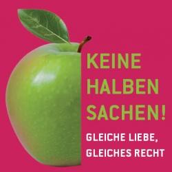 """Das B�ndnis """"Keine halben Sachen!"""" gr�ndete sich 2007 auf Initiative vom LSVD und wird inzwischen unterst�tzt u.a. von: B�ndnis 90/Die Gr�nen, Die Linke, SPD, Lesben und Schwule in der Union (LSU) und Liberale Schwule und Lesben (LiSL)"""