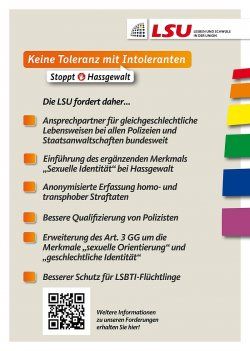 Auf Postkarten m�chte die LSU ihre Forderungen bei den kommenden CSDs und beim schwul-lesbischen Stadtfest in Berlin unters Volk bringen