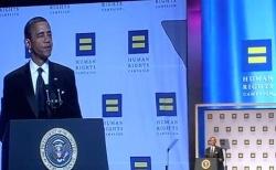 Präsident Barack Obama bei einem Auftritt für die Homo-Gruppe Human Rights Campaign