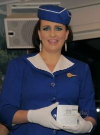 �berreichte den Mate Travel Award: Comedian Pam Ann - Quelle: Mate