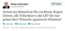 Der angek�ndigte Peter Altmaier kam nicht, w�nschte aber per Twitter spannende Debatten
