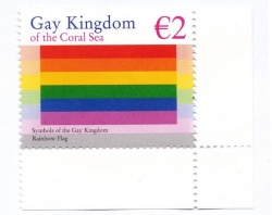 "Die 2-Euro-Briefmarke des ""Gay Kingdom of the Coral Sea"" stammt vin Florian Aschka"
