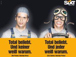 In einer nicht autorisierten Werbekampagne nahm Autovernieter Sixt den  Piratenpolitiker aufs Korn - Quelle: Sixt