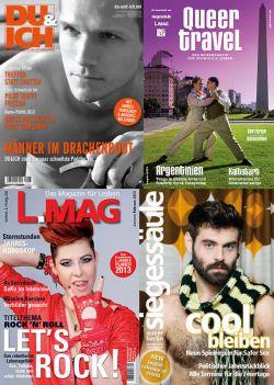 """Die vier Printtitel der Special Media SDL GmbH: """"DU&ICH"""", """"Queer Travel"""", """"L-MAG"""" und """"Siegessäule"""""""