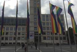 Der Stuttgarter CSD ließ 20 Fahnenmasten auf dem Marktplatz mit Regenbogenflaggen bestücken