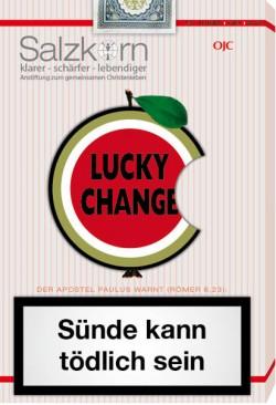 """Zynisches Cover der von der """"Offensive Junger Christen"""" herausgegebenen Zeitschrift """"Salzkorn"""": Der angebissene Apfel ist ein Symbol f�r den wegen seiner Homosexualit�t verurteilten Mathematiker Alan Turing, der mit einem vergifteten Apfel Selbstmord ver�bte"""