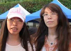 Auch Taiwans einziges gleichgeschlechtliches Ehepaar Abbygail Wu und Jiji Wu nahm an der Aktion teil,. Eine der Frauen war bei der Hochzeit rein rechtlich noch ein Mann - Quelle: Martin Aldrovandi