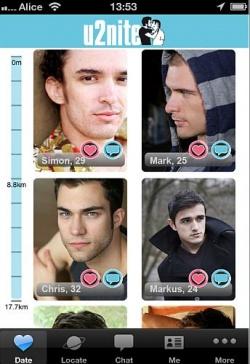 Datinwillige Jungs, mit Entfernungsbarometer ausgesucht - Quelle: Screenshot