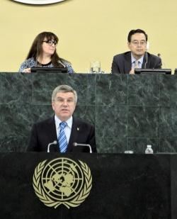 Thomas Bach am Mittwoch vor der UN - Quelle: UN Photo / Paulo Filgueiras