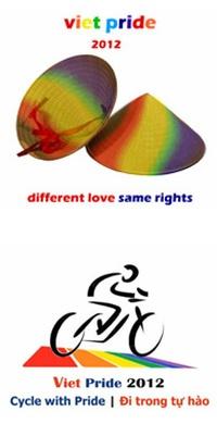 Zum Logo des Viet Pride 2012 geh�rt auch die landestypische Kopfbedeckung in Regenbogenfarben