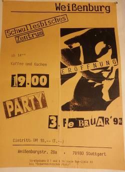 """So Nineties: Plakat zur Er�ffnungsparty der """"Weissenburg"""". Die Feier zum Jubil�um findet am Sonntag, den 31. Januar 2016 ab 14 Uhr statt - Quelle: Andreas Zin�er"""