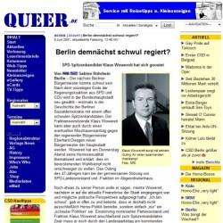queer.de meldet am 8. Juni 2001 eine Sensation